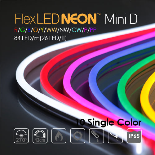 Flx NEON LED 24V 84 LED/m(26 LED/ft) Mini Domed 10 Single Color-9W/m(2.8W/ft) 66Ft/Roll IP65