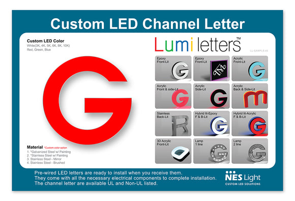 NES Light LUMI Letter Sample Board [LL-SAMPLE-05] Size : 18