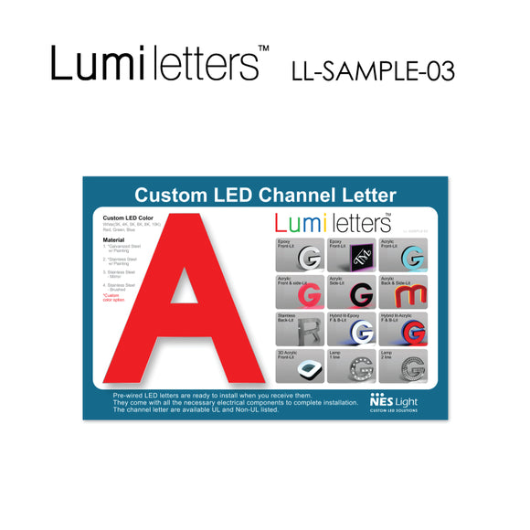 NES Light LUMI Letter Sample Board [LL-SAMPLE-03] Size : 18