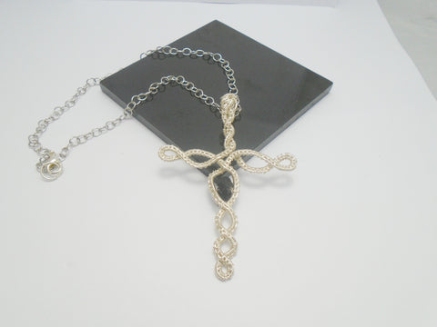Rough Moldavite Wire Wrapped Cross