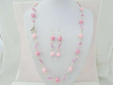 Beaded Pink Wire Necklace and Earring Set