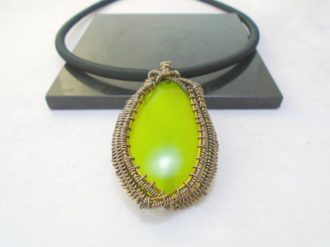 Green Cats Eye wire wrapped Pendant
