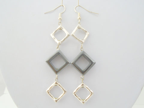 hematite dangly long earrings