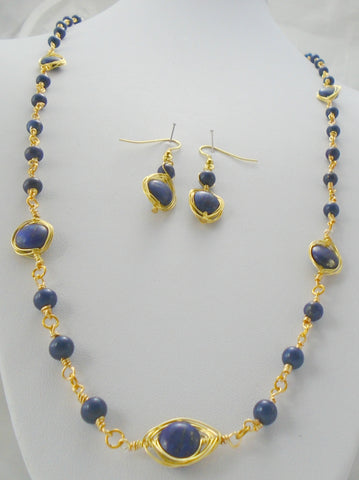 Beaded Lapis Lazuli Necklace and Earring set