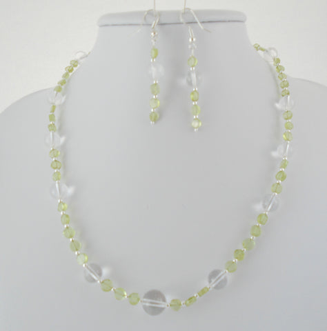 Beaded Peridot and Clear Quartz Necklace Set
