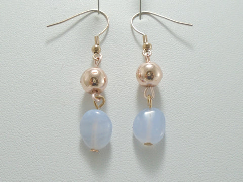 Blue Lace Agate Beaded Rose Gold Earrings