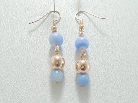 Blue Lace Agate Rose Gold Drop Earrings
