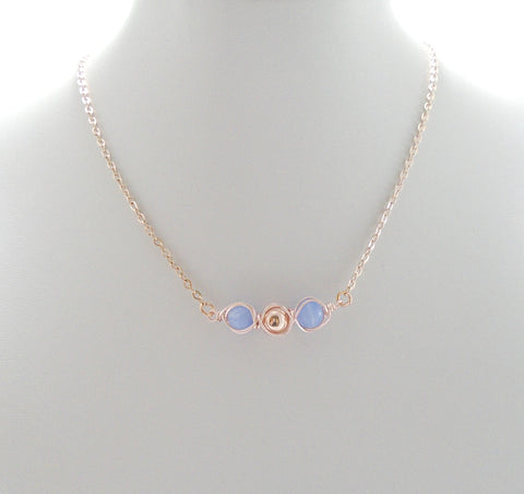 Blue Lace Agate Dainty Necklace