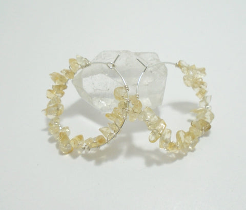 Raw Citrine Yellow Gemstone Beaded Hoop Earrings