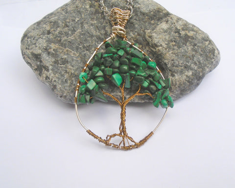 Malachite Wire Wrapped Green Gemstone Tree of Life Pendant Necklace