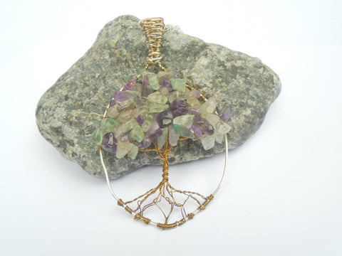 Fluorite Wire Wrapped Tree of Life Gemstone Pendant Necklace