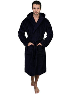 TowelSelections Men's Robe, Hooded Terry Velour Cotton Bathrobe Large/XLarge Navy