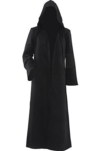 Cosplaysky Star Wars Jedi Robe Costume Adult Hooded Cloak Black X-Large