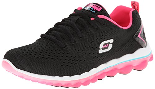 Skechers Sport Women's Skech Air Aim High Fashion Sneaker,Black Mesh/Hot Pink Trim,6 M US