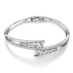 Menton Ezil Love Encounter Women Silver Bracelet Swarovski Bangle Jewelry for Wedding