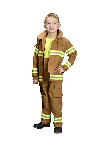 Aeromax Jr. Fire Fighter Bunker Gear, Tan, Size 4/6