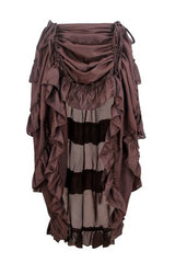 Charmian Women's Steampunk Gothic High Low Cyberpunk Ruffle Skirt Coffee XXXXX-Large
