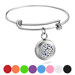 Essential Oil Diffuser Wire Bangle Bracelet, Stainless Steel Aromatherapy Locket Bracelets with 8 Washable Color Pads,Girls Women Jewelry Gift