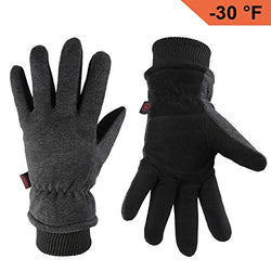 OZERO Warm Gloves Coldproof Winter Ski Glove - Deerskin Leather Palm & Polar Fleece Back with Insulated Cotton - Windproof Water-Resistant Hand Warmers in Cold Weather for Women Men - Gray(XL)