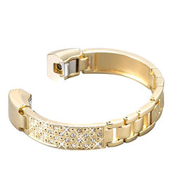 bayite For Fitbit Alta Bands, Jewelry Bangle Adjustable Bracelet with Rhinestone Bling Gold 5.5