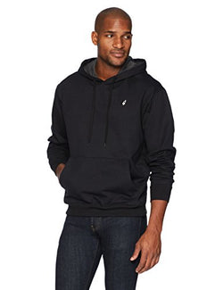 Flying Ace Men's Pullover Fleece Hooded Sweatshirt Long Sleeve with Logo Embroidery Large Black