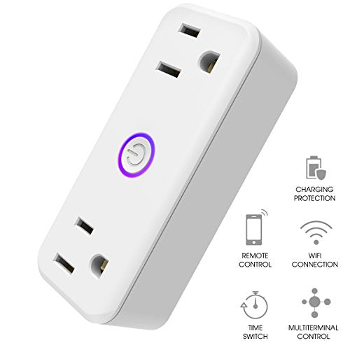 Mini Wifi Smart Plug, isuke 15A Dual Socket Outlets Compatible with Amazon Alexa with Energy Monitoring, Google Home, IFTTT, no hub Required(Android/IOS)