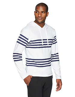 Flying Ace Men's Jersey Hooded Raglan Long Sleeve T-Shirt with Stripes Small White and Navy Stripes