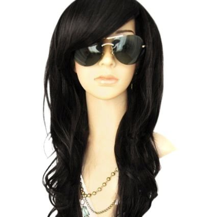 MelodySusie Black Long Curly Wig - 34