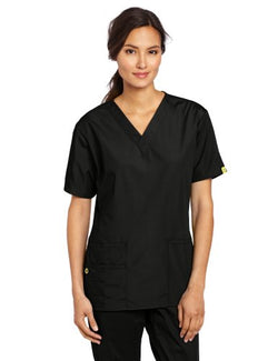 WonderWink Women's Scrubs Bravo 5 Pocket V-Neck Top, Black, X-Large