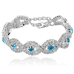 Long Way Women's Silver Plated Rhinestone Bracelets (Blue)