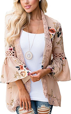 ECOWISH Womens Floral Print Loose Puff Sleeve Kimono Cardigan Lace Patchwork Cover Up Blouse, Khaki, US M