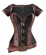Charmian Women's Spiral Steel Boned Steampunk Retro Brocade and Leather Overbust Corset With Jacket and Belt Light-Brown XXXXXX-Large