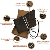LEATHER JOURNAL GIFT SET Handmade Writing Notebook 7 x 5 Inches Unlined Paper, Antique Leatherbound Daily Notepad For Men & Women, Ideal Present with Box, Secret Pen Holder and Luxury Metallic Pen