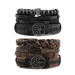 HZMAN Mix 6 Wrap Bracelets Men Women, Hemp Cords Wood Beads Ethnic Tribal Bracelets Leather Wristbands (Tree of life)