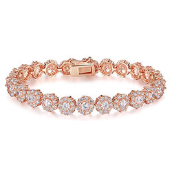 BAMOER Classic Rose Gold Plated Bracelet with Sparkling White Cubic Zirconia Stones for Women Grils Perfect Christmas Gift for Her 6.7 Inches