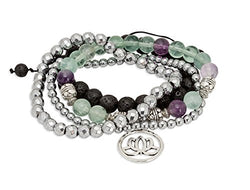 SPUNKYsoul Purple & Green Fluorite Lotus New Beginnings Bracelet Hematite for healing Stack Bracelet Set Collection