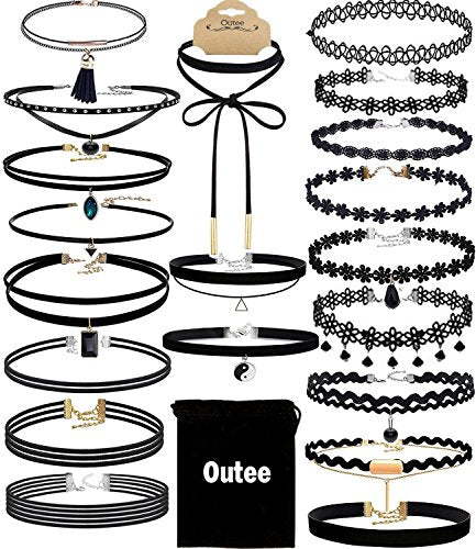 Choker Set, Outee 20 Pcs Classic Choker Necklace Layered Black Chokers Necklaces Womens with Material of Velvet