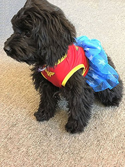 DC Comics Wonder Woman Dog Costume with Blue Tulle Skirt with White Stars, Small | Best Superhero Dog Costume For All Small Dogs