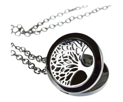 Tree Of Life Essential Oil Diffuser Necklace Stainless Steel Locket Pendant with 24