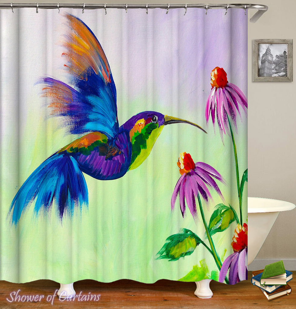 Bright Colored Shower Curtains of Colorful Honeybird