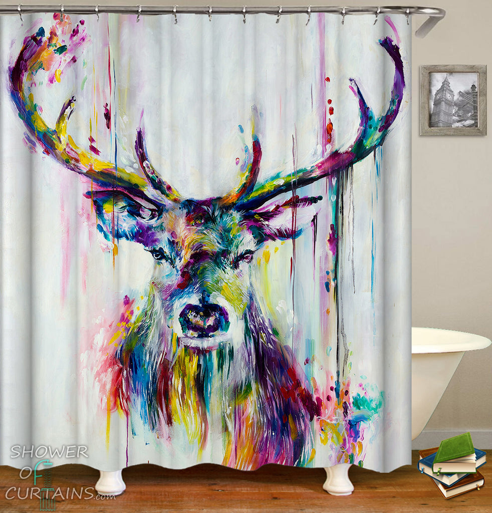 Deer Shower Curtain - Deer Head Colorful Art Painting Deer