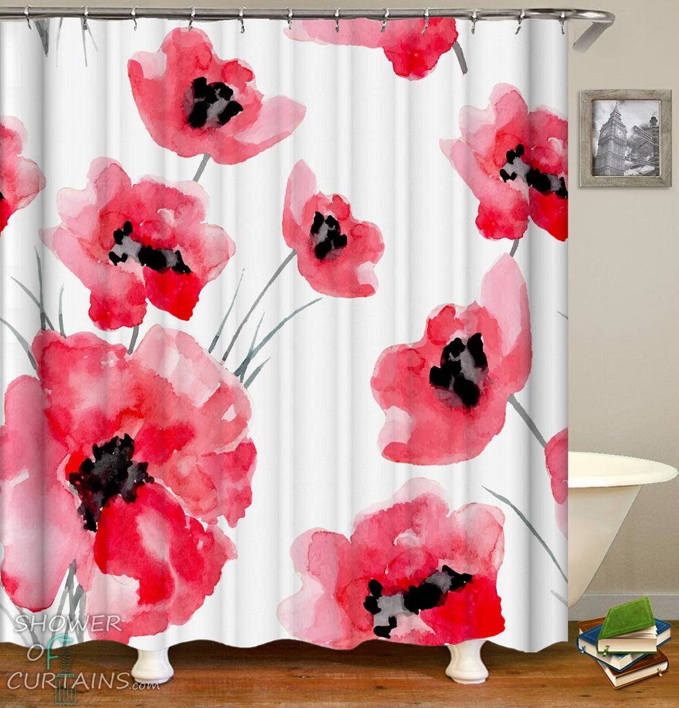 Red Shower Curtain - Red Flower Shower Curtains