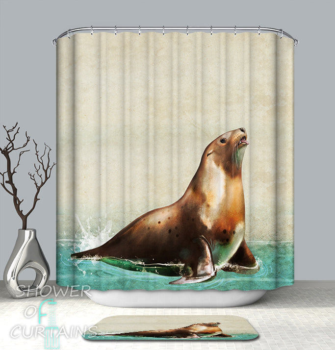 Splashing Water Seal Animal Shower Curtain
