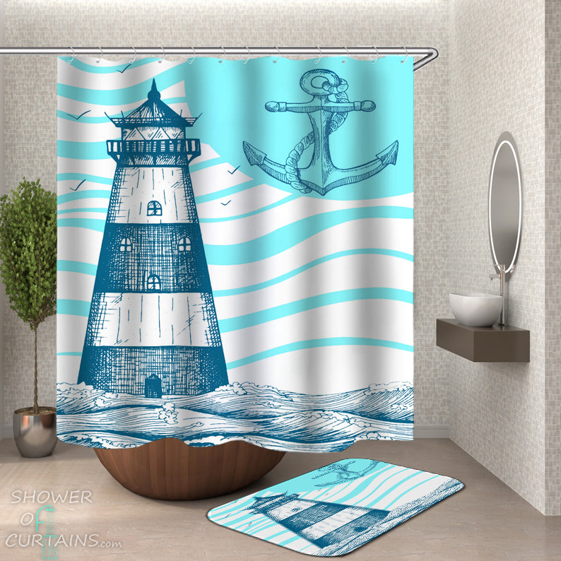 Anchor And Lighthouse Shower Curtain - Nautical Themed Bathroom Decor