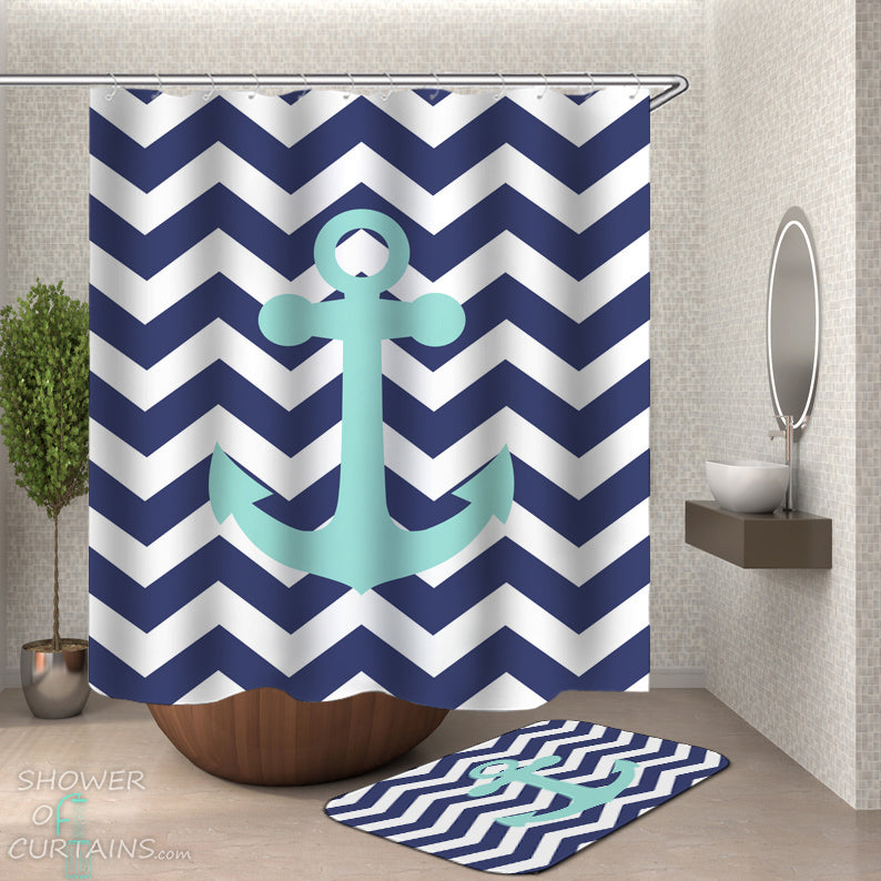 Anchor Shower Curtain Set of Blue White Chevron Anchor