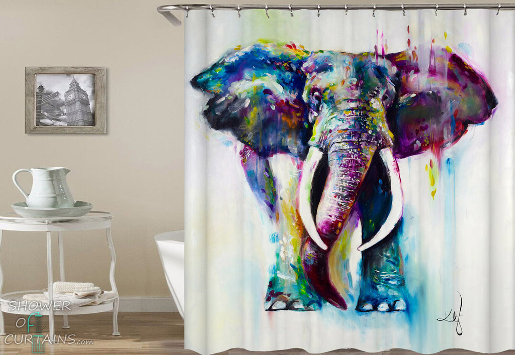 Art Elephant Shower Curtain of Powerful Elephant Art Painting
