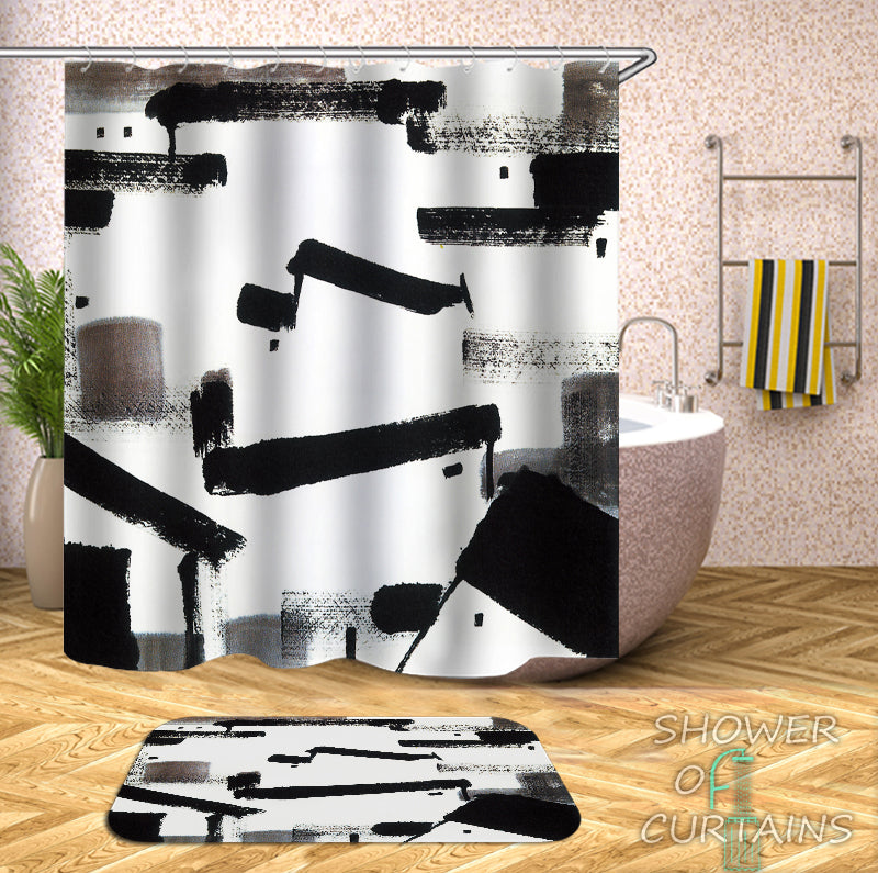 Art Paint Black And White Shower Curtain
