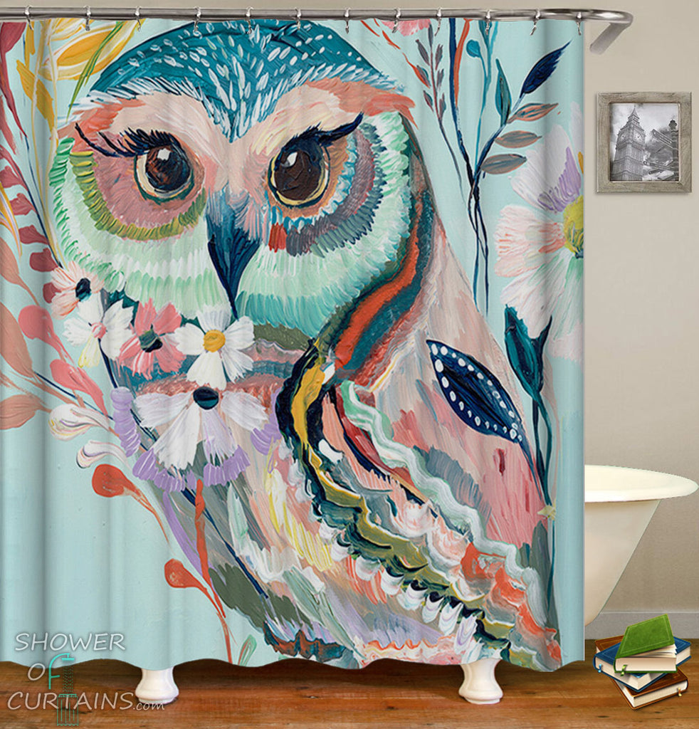 Art Painting Owl Shower Curtain