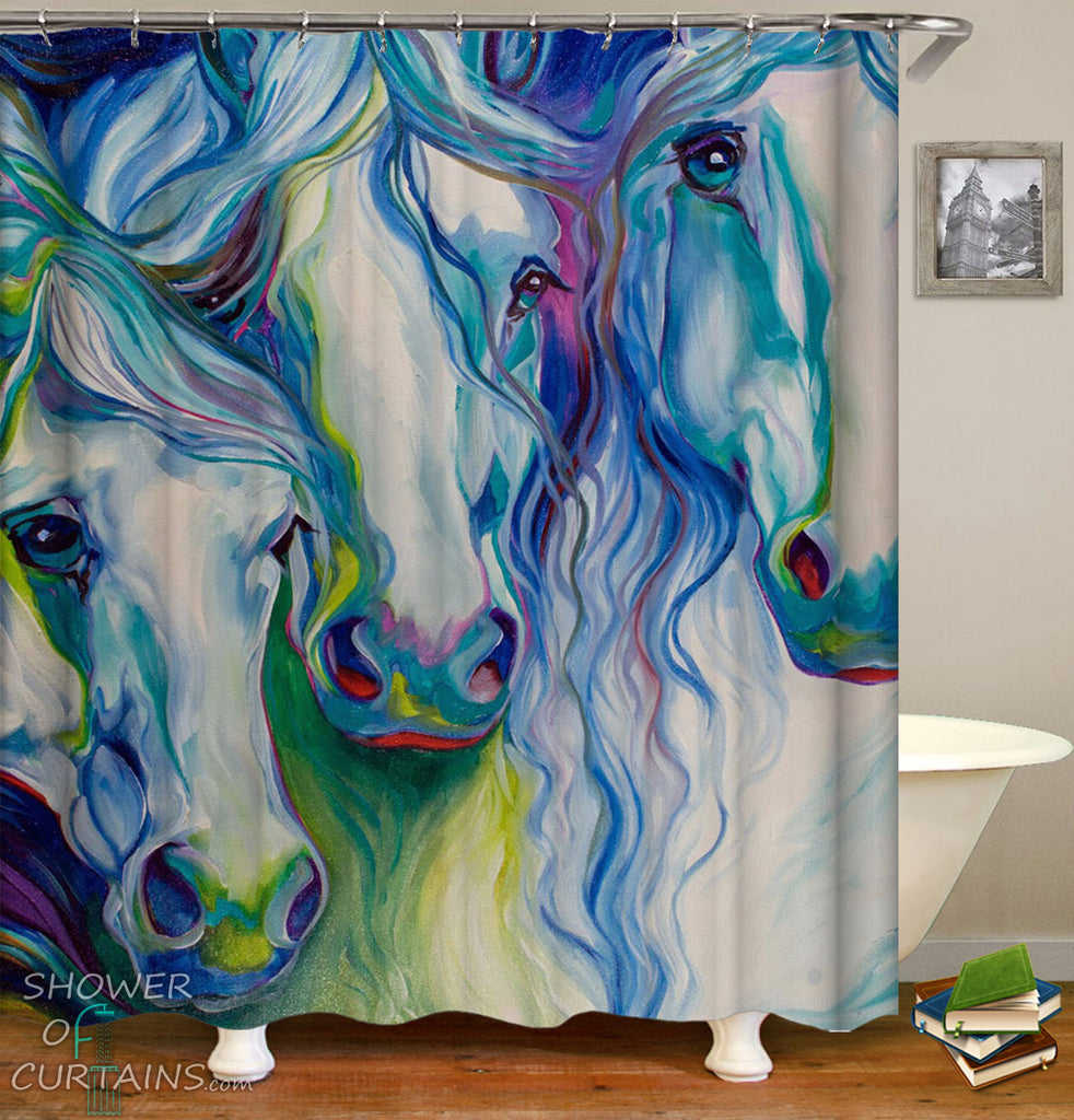 Art Shower Curtain of Art Painting Horses Shower Curtains