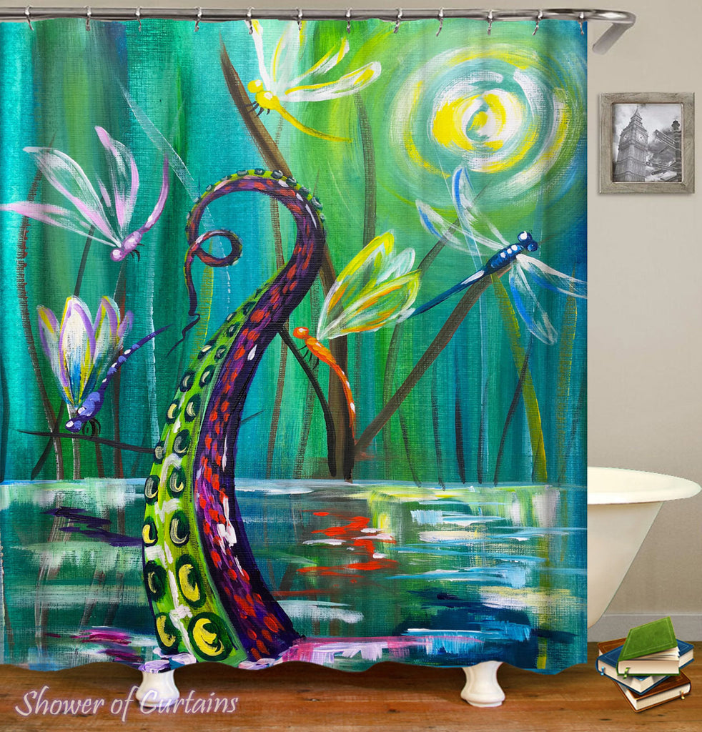 Art Shower Curtain of Dragonflies And Octopus' Tentacle